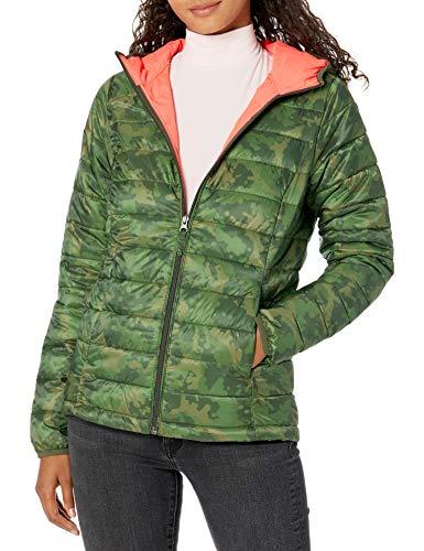 Amazon Essentials Women's Lightweight Long-Sleeve Full-Zip Water-Resistant Packable Hooded Puffer Jacket, Green Camo, Small