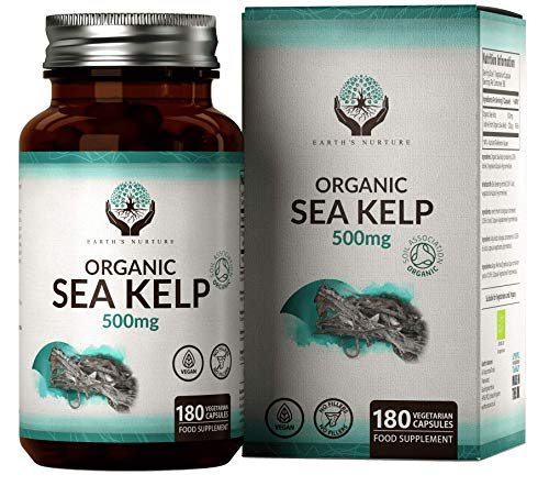 EN Organic Sea Kelp 500mg Per Capsule | Iodine Supplement Suitable for Vegans | Just Organic Sea Kelp No Fillers or Additives | 180 Vegetarian Capsules | Made in The UK in ISO Licensed Facilities