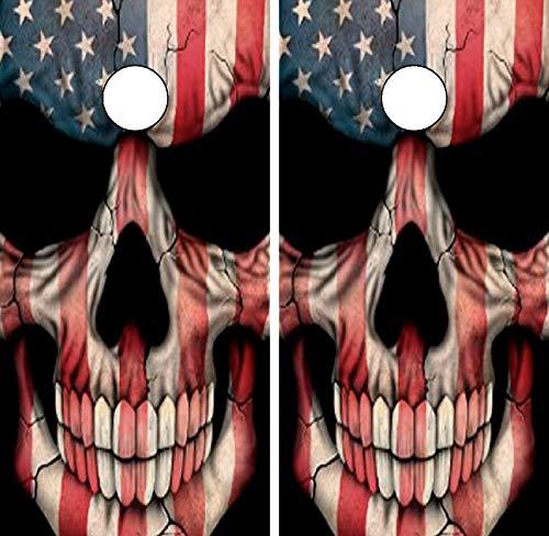 Cornhole Board Wrap Wraps American Flag Skull C22 Laminated Skin Boards Decal Set Decals Vinyl Sticker Stickers Bean Bag Game Vinyl Graphic Tint Image