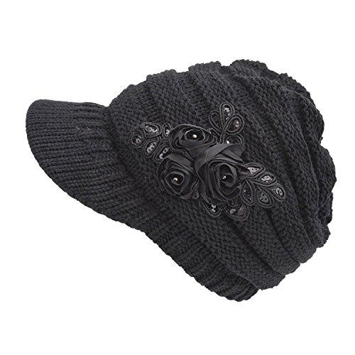 Kuyou Strickmütze mit Schild Winter Strickmütze Beanie Cap (Schwarz)