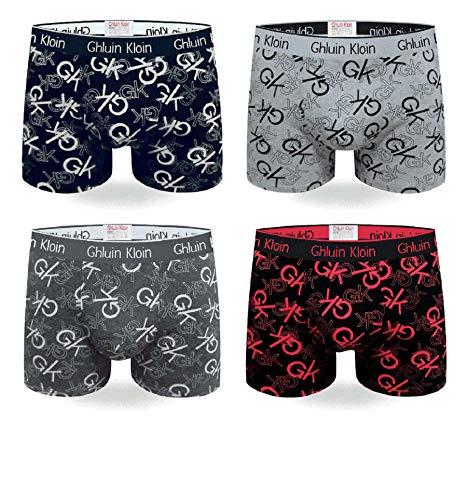 Calzoncillos Boxer para Hombre Ropa Interior con algodón Premium - Frente Grande en Y - Paquete de 4 Multicolores - Troncos de diseño Italiano (5995-1, XXL)