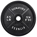 Signature Fitness Deep Dish 2-Inch Olympic Cast Iron Weight Plates with E-Coating