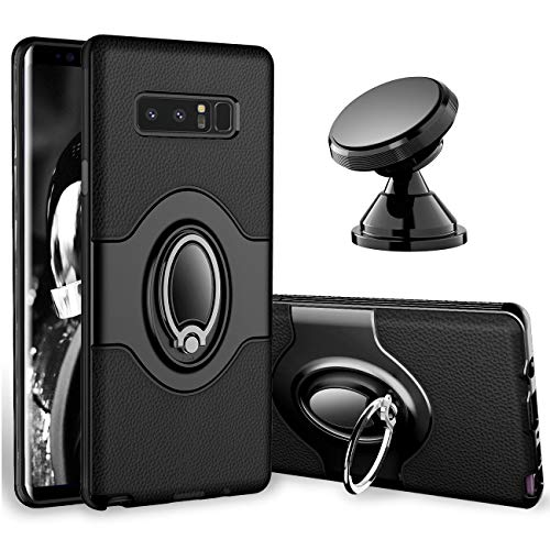 eSamcore Samsung Galaxy Note 8 Case Ring Holder Kickstand Cases + Dashboard Magnetic Phone Car Mount [Black]