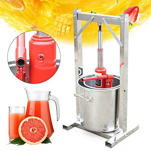 sujrtuj 12L Edelstahl Obstpresse Weinpresse Obst Apfelpresse + Hydraulikzylinder-Werkzeugsatz