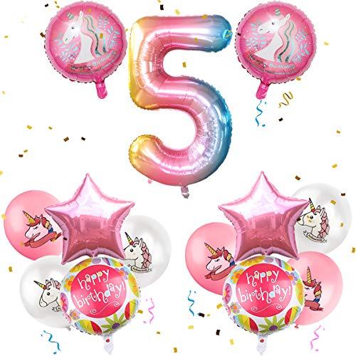 iZoeL Geburtstagsdeko Mädchen 5 Jahr Einhorn Luftballons Zahlenballon Geburtstag Party Dekoration für Kinder