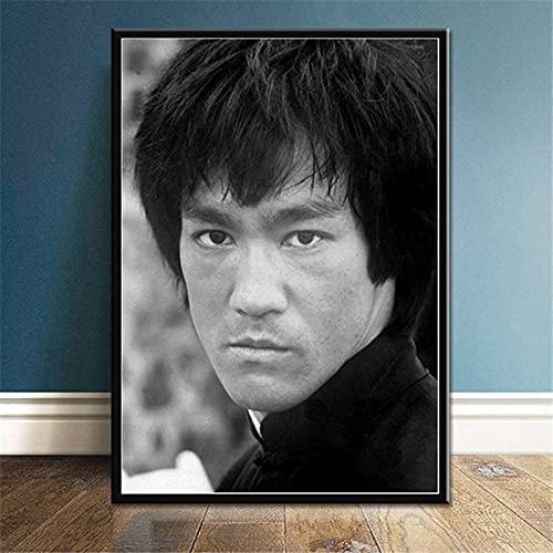 Zhufu Bruce Lee Kung Fu King Actor Carteles E Impresiones Lienzo Pintura Pared Arte Imagen Cartel Retro Decoración Decoración del Hogar 50X70 Cm (Ob-3956)