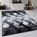 Alfombra DE DISEÑO Moderno, DISEÑO Hexagonal DE Tejido, Negro, Talla:80x150 cm, Lalee Farbe:Plata