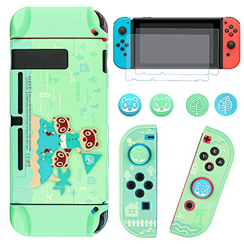 DLseego Dockable Protective Case Compatible with Nintendo Switch, Newest Pattern Animal Crossing Design [Baby Skin Touch] Cover with 2 pcs Glass Screen Protectors and 4 pcs Thumb Grips - Green