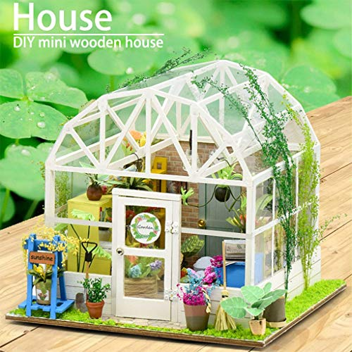 3D Furniture Dollhouse DIY Miniature Rose Garden Tea Cake Shop Kits Wooden Puzzle Model Best Birthday Gifts for Adults Kids
