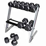 CAP Barbell Black Cap Rubber HEX Dumbbell Set with Rack, 200 lb