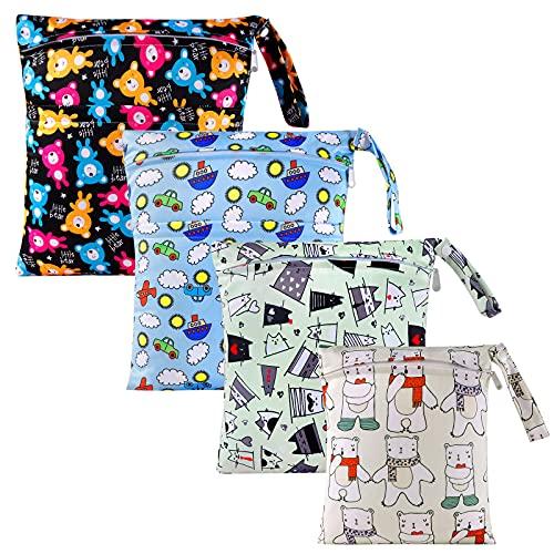 BelleStyle Bolsa de Pañales, 4 PCS Wet Dry Bag Impermeables Reutilizables Para Productos con asa y 2 Cremallera, Organizador de Bolsas de Viaje para Nadar, Bolsa de Gimnasio, Cochecito, Yoga