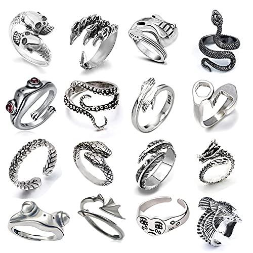 I3C 16 anelli a serpente a forma di serpente, stile gotico, diablo regolabile, in argento, per cosplay, per Halloween, retrò, punk, adulti e bambini