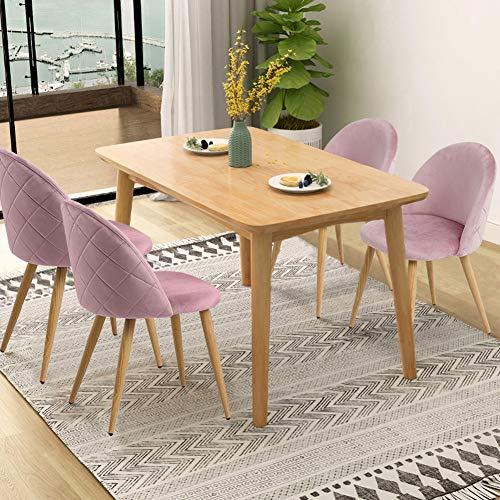 CLIPOP Juego de 4 sillas de comedor de terciopelo con respaldo y patas de metal resistente de estilo de madera para salón, sala de estar, cocina, oficina y restaurante, Rosa