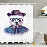 CHENHAO Shower Curtain Washable Funny Decor Set Vintage Hipster Panda with Bow Tie Dickie Hat Horn Rimmed Glasses Waterproof 200X200cm