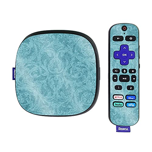 MightySkins Glossy Glitter Skin Compatible with Roku Ultra HDR 4K Streaming Media Player (2020) - Baby Blue Jacquard   Protective, Durable High-Gloss Glitter Finish   Easy to Apply   Made in The USA