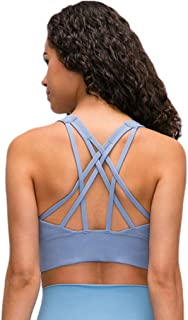 Yoga Sports Bras for Women Longline Strappy Cute Workout Yoga Bra Tops for Gym Exercises Crossfit