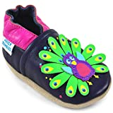 Juicy Bumbles Chausson Cuir Bébé - Chaussure Bebe Fille - Chaussons Bébé Cuir Souple - Paon - 6-12 Mois