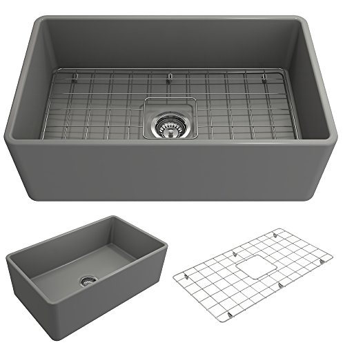 BOCCHI 1138-006-0120 Classico Apron Front Fireclay 30 in. Single Bowl Kitchen Sink with Protective Bottom Grid and Strainer in Matte Gray