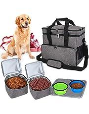Teamoy Bolsa de Viaje para Perro, Bolsa de Viaje para Perro con 2 tazones Plegables de Silicona, 2 Almacenamiento de Alimentos, 1 Estera de Platos (Grande, Gris)