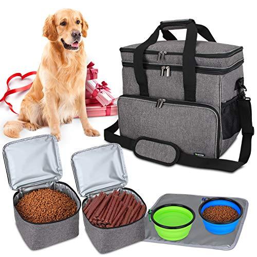 Teamoy Reisetasche für Hundeausrüstung, Hundetasche für die Mitnahme von Tiernahrung, Leckereien, Spielzeug und andere wichtige Dinge, ideal für Reisen, Camping oder Tagesausflüge (Groß, grau)