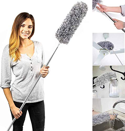 Microfiber Duster with Extension Pole (30 to 100 inches) Non-Scratch, Bendable, Washable, Hypoallergenic, Lint Free Dusters for Cleaning Ceiling Fan, Blinds, Cobwebs, Baseboards (Gray, 100 Inch)