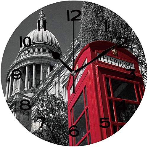 Ad4ssdu4 Reloj redondo de madera con caja de teléfono de Londres roja con una catedral de San Pablo en el fondo, reloj de pared de 30,48 cm