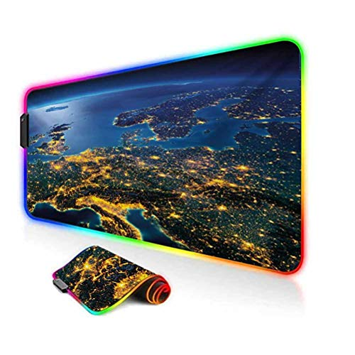RGB Gaming Mouse Pad,Continent of Central Europe Night Time View from Outer Space Vivid Planet Led Mousepad with Non-Slip Rubber Base,35.6'x15.7',for Game Players,Office,Study Blue Yellow Emerald