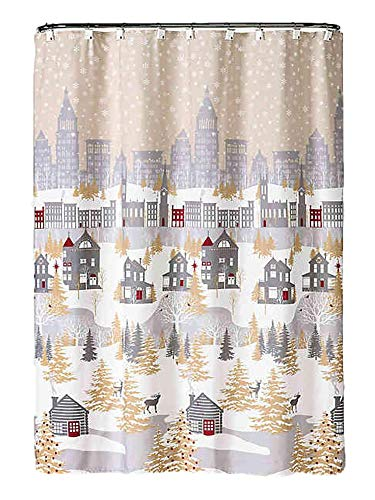 Winter Wonderland City Snow Holiday Village Christmas Shower Curtain & Hook Set