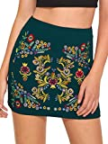SheIn Women's Casual Floral Embroidered Bodycon Short Mini Skirt Green L