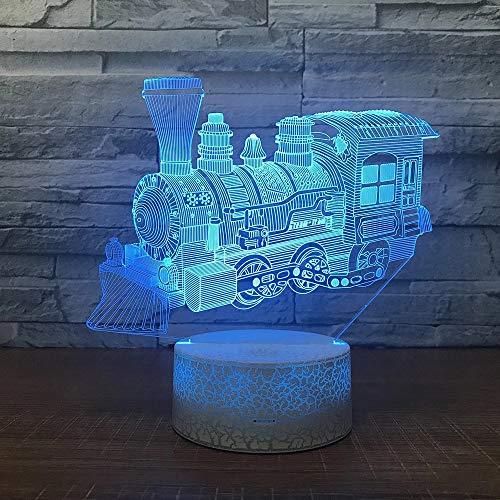 Maravilloso tren LED, luz visual 3D decoración creativa lámpara de mesa pequeña base de grietas de acrílico multicolor pequeña luz nocturna lámpara de mesa pequeña creativa