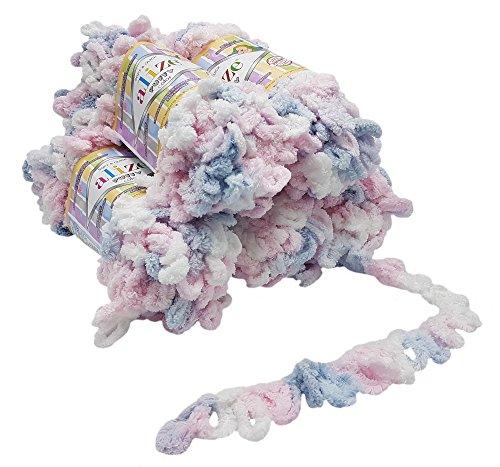 5 ovillos de lana Alize Puffy Color de 100 g, 500 gramos para tejer los dedos, multicolor supervoluminoso, sin aguja, color blanco, rosa y azul 5864