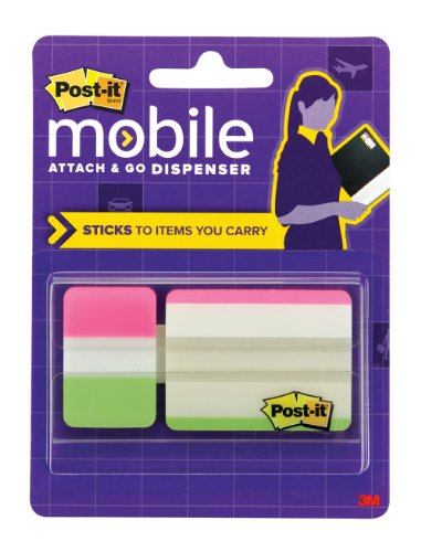Post-it Mobile Attach & Go Tabs Dispenser, 2 in x 1.5 in and 1 in x 1.5 in Tabs, Lime and Pink, 24/Pk (PM-TABS2)
