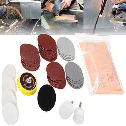DIY Crafts 32 Pcs Deep Scratch Remover Car All Type Glass Headlight Windshield Polishing Shining Buffing Kit 3'' Wheel Cerium Oxide Cream Window Polishing TREO 95% 2.5microns 1.75oz (50 Grm, Pink)