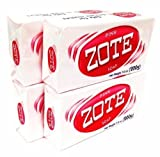 Zote Laundry Soap Bar - Stain Remover - Catfish Bait - Pink 4 Bars-7 Oz (200g) Each by Zote
