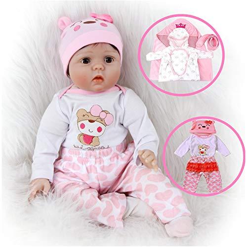 ZIYIUI 22 Pulgadas / 55 cm Muñecas Reborn bebé Realista Reborn Baby Doll Silicona Suave Hecho a Mano de Vinilo Ojo parpadear Reborn niña de Juguete Muñecas