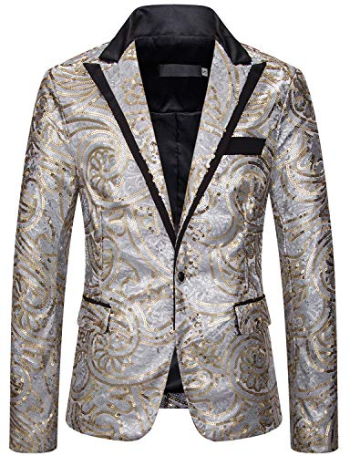 Mens Sequin Jacket Sport Coats and Blazers Christmas Blazer Party Costume (Silver, Large)