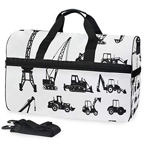 Black Silhouettes - Bolsa de Viaje para máquina de Mezclar hormigón, tamaño Grande, con Compartimento para Zapatos