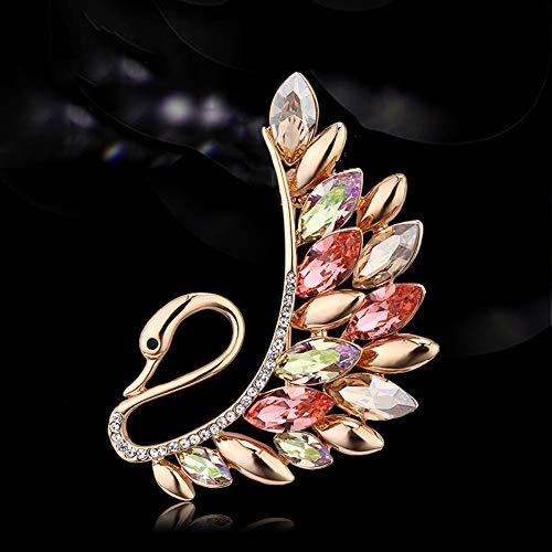 MLSJM Frauen-Brosche, Luxuriöse Elegante Schwan Kristall Broschen, Schmuck, Dekoration, Accessoires, Stunning Geschenke Für Sie,Color Crystal
