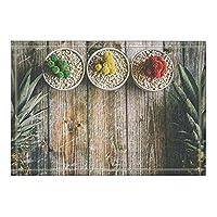 Assanu フルーツの装飾植物とパイナップルのプランクバスラグ滑り止め玄関マット玄関口屋外屋内玄関マット子供用バスマット15.7x23.6inバスルームアクセサリー