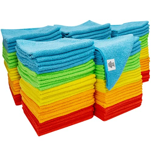 S&T INC. Microfiber Cleaning Cloths, Reusable and Lint Free Cloth Towels for Home, Kitchen and Auto, Assorted Color, 11.5 Inch x 11.5 Inch, 150 Pack
