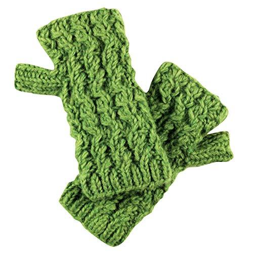 Turtle Fur Nepal Women's Hand Knit Wool Fingerless Mittens - Gloves, Green