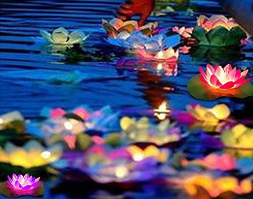 Solar-Powered Floating Lotus Flower LED Pool Light