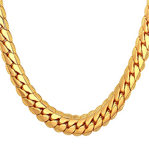 U7 Halskette für Männer Jungen 9 mm breit Erbskette Rundpanzerkette - Mesh Englische Collier Gelbgold überzogen Gliederkette Modeschmuck 61cm lang, Gold