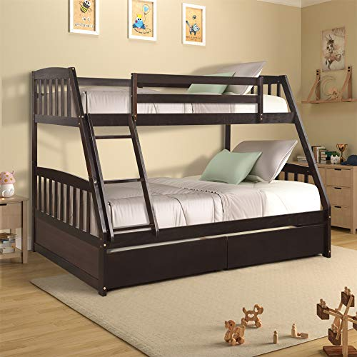 Twin Over Full Bunk Bed with Two Storage Drawers, Solid Wooden Bunk Bed for Kids, Teens, Adults, Espresso