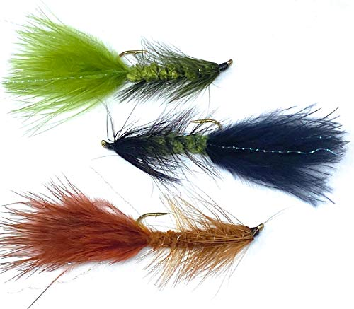 Wooly Bugger Flies | 12 PC Kit | 3 Colors (Olive/Red/Black) | 4 Hook Sizes (4, 6, 8, 10)