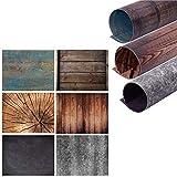 Telón de fondo plano Selens 2 en 1, 56 x 88 cm, 3 piezas, piedra de cemento, piedra granulada, rombo de madera, color azul, tabla de madera para fotografía de productos gourmet