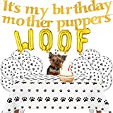 23 Pieces Dog Birthday Party Set Include Its My Birthday Mother Puppers Dog Birthday Banner 20 Pieces Dog Paw Balloons 54 x 71 Inches Paw Tablecloth and WOOF Letter Balloons for Dog Birthday WOOF