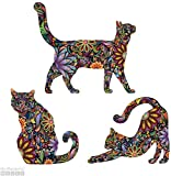 Cat Wall Sticker Trio - Set of 3 Stickers - Repositionable Cat Wall Decals in Flower Pattern (as Shown, S)