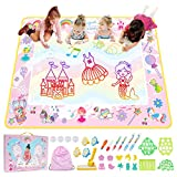 SGAGO Extra Large Water Drawing Mat, Pink Aqua Doodle Mat, Painting Writing Doodle Board, Cute Cartoon Water Coloring Mat, Educational Toys for Girls Age 3 4 5 6 7 Year Old (60x43 Inches )