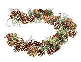 Idena 30224 - Guirnalda navideña con piñas y 10 ledes en blanco cálido, temporizador de 6 horas,...